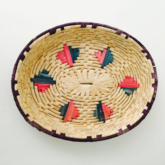Vintage Woven Coiled Basket Oval Wall Hanging Basket Colorful Tribal Motif Boho Decor