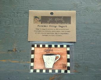 "SALE!  Art Magnet, Flexible magnet, fridge magnet, whimsical coffee, coffee art, mixed media art, 2.5"" x 3.5"" (64 x 89mm) ""Cafe Coffee"""