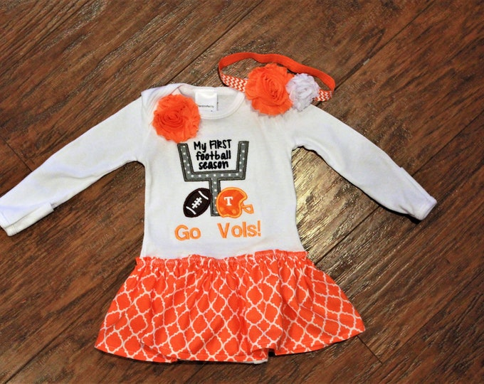 Featured listing image: Tennessee Volunteers, Volunteers, Tennessee, baby girl gift, baby shower gift, baby girl clothes, bodysuit, football, orange, white, dress