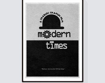 Modern Times Minimalist Alternative Movie Print & Poster