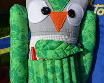 Plush Owl Crayon Holder Doll, leaf cover vintage green button upcycled art artist doll travel buddy Summer girls boys Halloween Christmas