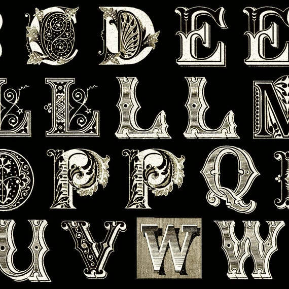 printable alphabet letters letters typography black white antique quilting treasures 1 24056