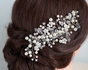 Wedding Hair Comb Pearl Bridal Hairpiece Authentic Beaded Wedding Day Accessories Jeweled Crystal Hair Clip Classy Bride Decorative Haircomb