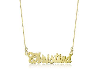 10K Solid Yellow Gold Personalized Custom Cursive Name Pendant Box Chain Necklace Set - Alphabet Letter Charm