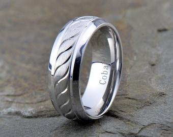 Mens Cobalt Wedding Band, Cobalt Chrome Wedding Ring, Domed, Grooved, Mens Cobalt Wedding Band, Mens Womens Cobalt Wedding Band