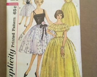 Vintage 1960's Simplicity Pattern 3822 Evening Dress in 2 Lengths and Caplet Miss Size 12 Bust 32