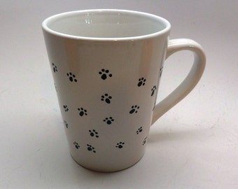 Hand Painted Ceramic Paw Print Coffee Hot Cocoa or Tea Mug for Pet Lovers