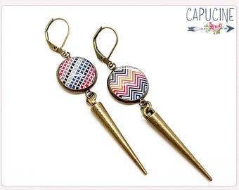 Chevron earrings - Chandelier earrings - Glass dome chevron earrings