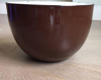 Vintage Enamelware Finel Arabia Brown Bowl - Scandanavian Mid Century Design- Kaj Franck - Enamel - Finland