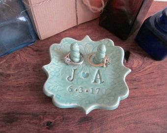 Ring holder, Ring dish, wedding ring dish, bridal shower gift, monogrammed ring dish, ceramic ring holder
