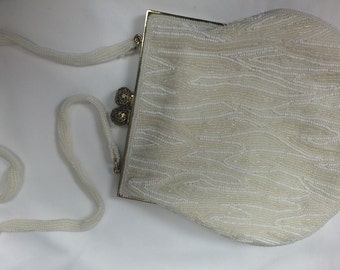 White and Gold finely beaded 50's handbag