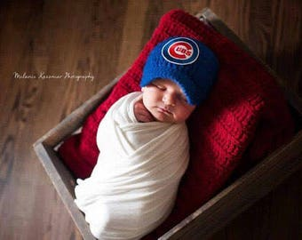 Baby Boy Chicago Cubs Inspired Baseball Hat / Newborn Photo Prop / Sitter Session Prop / Diaper Cover / Newborn - 9 Months *MADE TO ORDER**