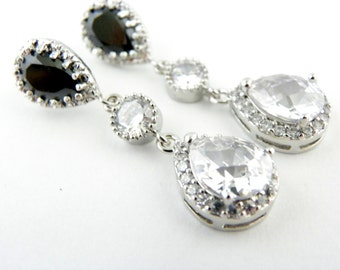 Old Hollywood Wedding Jewelry, Bridal Statement Earrings, Black and White Earrings, Cubic Zirconia Bridal Earings Wedding Statement Earrings