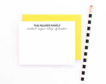 Personalized Family Stationary Personalized Stationery Set Custom Family Note Cards Family Stationery Flat Notecards Personalised Stationary