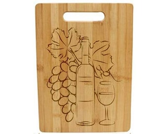 Laser Engraved Cutting Board - 018 - Grapes Bottle and Glass
