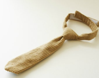 Boys necktie, Tan corduroy necktie, boy photo prop, baby neck tie, country wedding ring bearer necktie - made to order