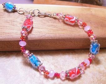 Girls Vintage Candy Lampwork Bead Bracelet-Valentine's Day -Lampwork Jewelry-Handmade Jewelry