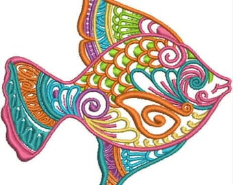 Embroidered Dish Towel or Hand Towel - Mehndi Fish