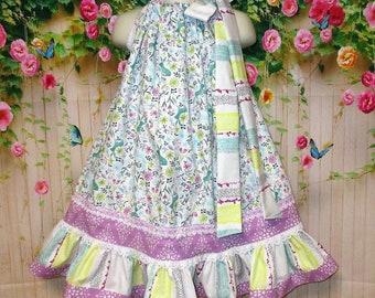 Girls Dress 3T/4T White Aqua Purple Forest Friends Flowers Pillowcase Dress, Pillow Case Dress, Boutique Dress