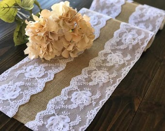 Natural Burlap Table Runner Wedding Table Runner with white lace rustic wedding, party linens , Burlap table runner, Lace table runner