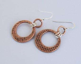 Mixed Metal Jewelry, Handmade Copper and Silver Earrings, Mixed Metal Earrings, Open Circle Geometric Earrings, Drop Dangle Earrings, Casual