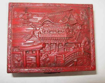 Vintage Japanese Trinket Box, Raised Relief Painted Metal Hinged Wood Line, Red, Asian, Jewelry Box, Memento Box, Keepsake Box, Decorative