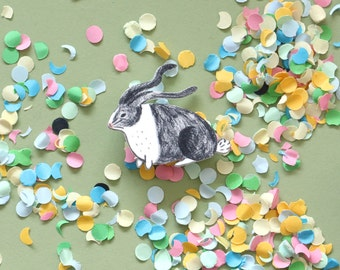 Handmade Bunny Illustration Brooch made of Shrink Plastic