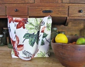 Vintage Barkcloth Bag, Slouch Bag, Large Bag, Upcycled Barkcloth, Leaves,  Shoulder Bag, Handmade, Zippered Pocket, purse, Boho bag, Market