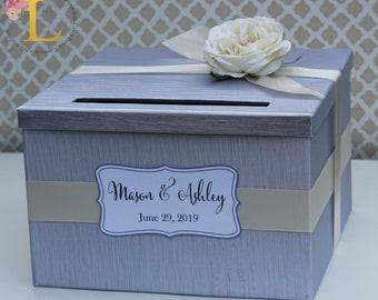 Wedding Card Box Silver Cream Ivory Flower Money Holder Custom Card Holder
