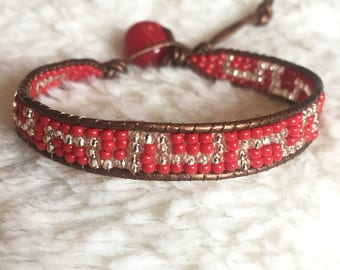 Beaded Leather Bohemian Wrap bracelet with red and iridescent tone beads