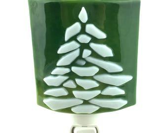 Night Light, White Tree, Green Art Glass, Wall Plug In