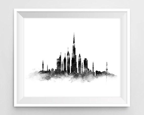 Dubai Print Dubai Skyline Art Print Black and White United