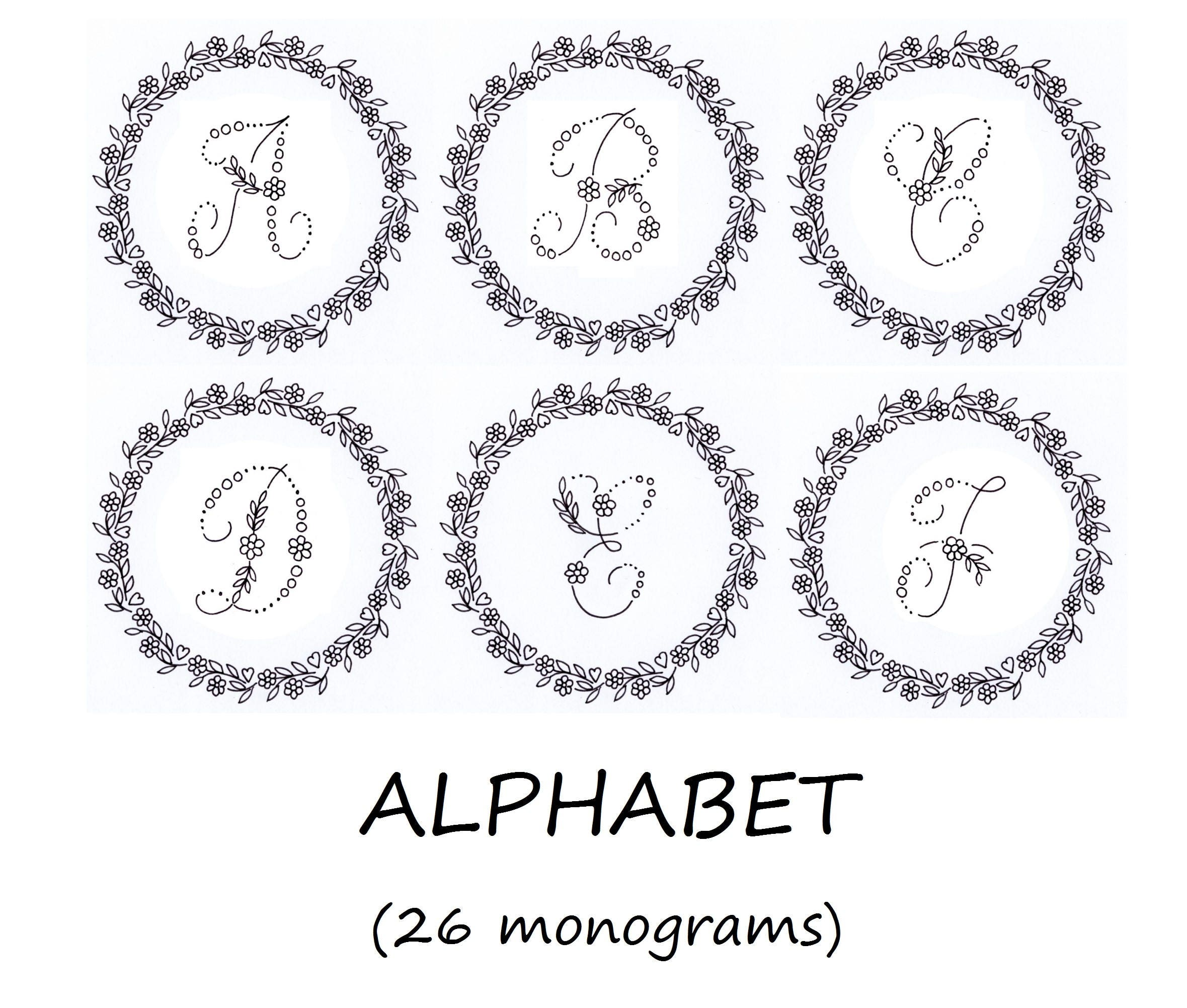 Hand Embroidery PDF: 26 monograms alphabet with Floral