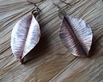 Leaves, copper leaf earrings