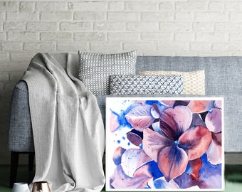 Watercolor Hydrangea Print Purple flower art Floral home decor Violets Botanical artwork gift Hydrangea