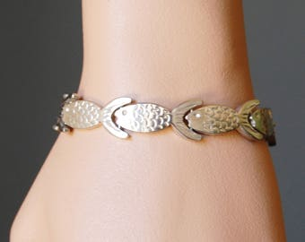 Vintage 70s Mexico 925 Sterling Silver Fish Bracelet 7.25 Inches 36.85 grams