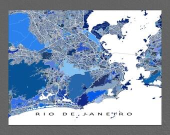 Rio De Janeiro Map Print, Rio De Janeiro Brazil, City Art Maps, South America