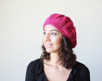Orchid knit hat, Adult beanie hat, Slouchy hat beanie, Women slouchy hat, Fuchsia knit hat, Adult women hat, Chapeau femme, gebreide muts