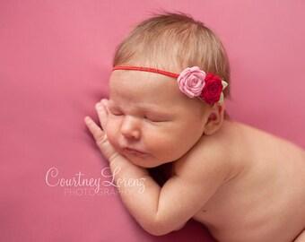 Baby Felt Flower Headband - Pair of Wool Felt Rosebuds in Red and Pink - Newborn to Adult