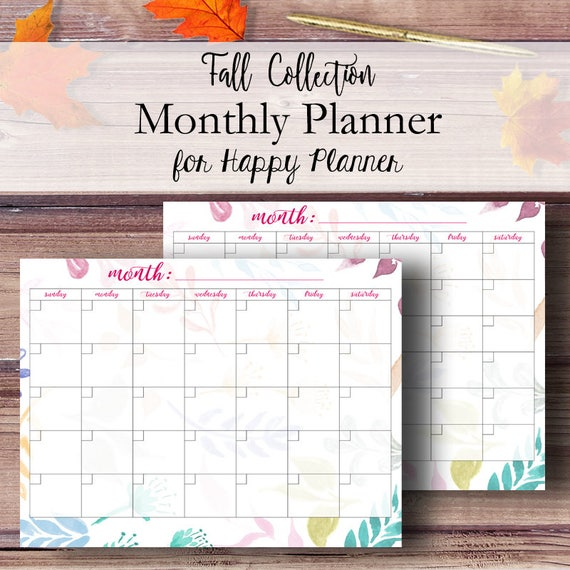 Happy Planner Monthly Calendar 2018 Happy Planner Printable