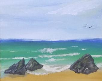 Beach scene painting/Wall art 12x12
