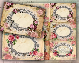 Roses Chic - Labels - set of 10 - digital collage sheet