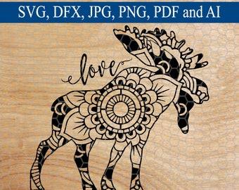 Moose SVG, Moose Mandala svg, Mandala, Svg Mandala, Mandala svg, Animal svg, Commercial Use SVG, Cut File, Svg Designs, SVG