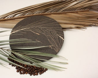 Recycled Coffee And Palm Leaf Plate, Recycled Crafts, Handmade woodturning, Modern Trivet, Natural art