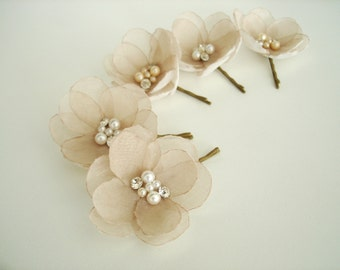 Champagne Flower Wedding  Hair Pins Bridal  Hair Flowers, Wedding  Hair Piece, Bridesmaid Champagne Hair Flowers, Flower Clips Pearl Crystal