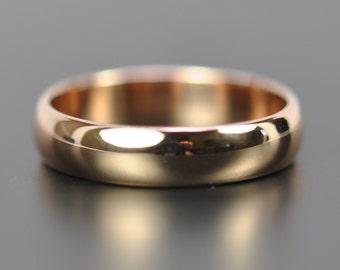 Wedding Ring, 18K Rose Gold Ring, 5 x 1.5mm Half Round, Eco Friendly, Sea Babe Jewelry