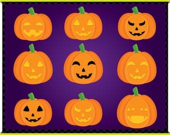 Digital Clip Art - Jack O Lantern - Pumpkin - Instant Downloads