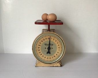 Vintage Red Kitchen Scale * Antique Scale * Farmhouse Kitchen * 24 lb Scale * French Country * Way Rite
