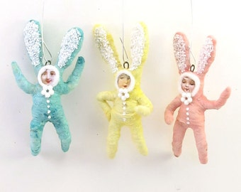 Vintage Inspired Spun Cotton Bunny Children Ornament Set (MADE TO ORDER)
