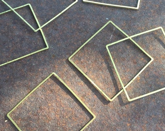 Brass Square Link Component - 12 Pieces - #159A